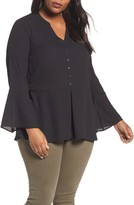 Sejour Plus Size Women's Bell Sleeve Peplum Blouse