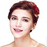 YAZILIND Beauty Bridal Headband Red Flower Beads Rhinestones Wedding Hair Accessories Party Women