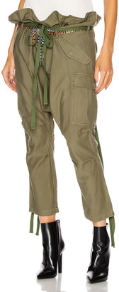 R 13 Rolled Waist Cargo Pant in Olive | FWRD