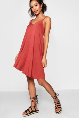 boohoo Basic V Neck Swing Dress