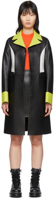 Kirin Black Leather Colorblocked Coat