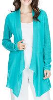 Joan Vass Striped Mesh-Paneled Cardigan