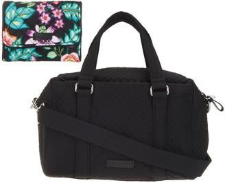 Vera Bradley Microfiber 100 Handbag with RFID Riley Compact Wallet