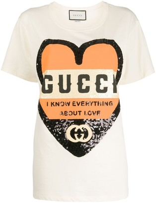 Gucci I Know Everything About Love Sequined T-shirt