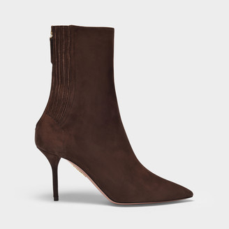 Aquazzura Ankle Boots Saint Honore In Brown Suede