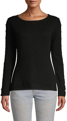 Qi Faux-Pearl Embellished Cashmere Sweater