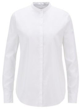 HUGO BOSS Relaxed-fit blouse in lightweight cotton with stand collar