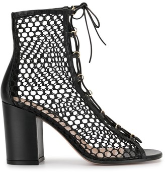 Gianvito Rossi Mesh Style Lace-Up Sandals