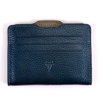 Atelier Hiva Double Card Holder Metallic Navy Blue & Mink