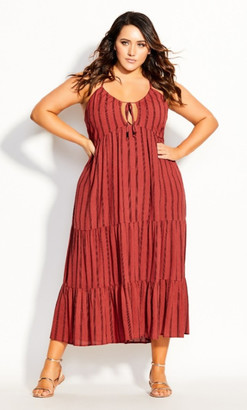 City Chic Caribbean Maxi Dress - rust