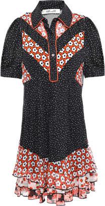 Diane von Furstenberg Lou Ruffled Printed Mini Crepon Shirt Dress