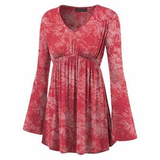 HJHK Shirt Women Elegant Loose Long Sleeve V Neck Slim Fit Long Soft Comfortable Fashionable Retro Print T Shirt Light Sweatshirt Beach Vacation Personality Party Top XXL