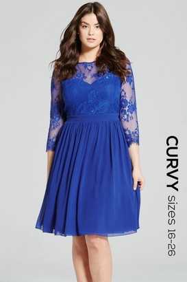Little Mistress Curvy Cobalt Lace Sleeve Dress
