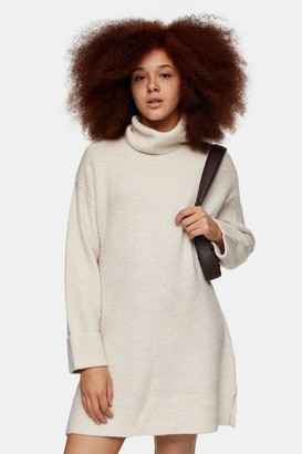 Topshop Womens Oat Plaited Funnel Neck Knitted Jumper Mini Dress - Oatmeal
