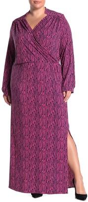 Leota Bridget Diamond Line Print Faux Wrap Maxi Dress (Plus Size)