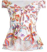 Peter Pilotto Floral-print peplum-hem cotton-blend top