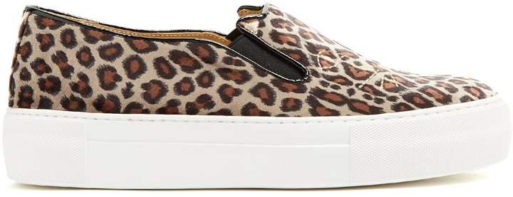 Charlotte Olympia Kitty leopard-print velvet trainers