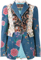 Roberto Cavalli floral patch fitted jacket - women - Silk/Cotton/Spandex/Elastane - 42