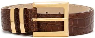 Black & Brown Ida crocodile-effect belt