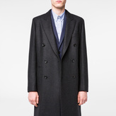 Paul Smith Men's Charcoal Grey Wool-Cashmere Double-Breasted Overcoat
