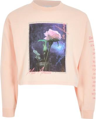 River Island Girls Pink printed long sleeve T-shirt