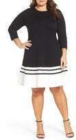 Eliza J Plus Size Women's Ponte Fit & Flare Dress