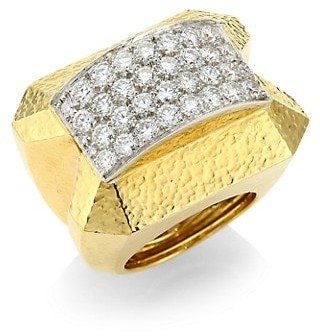 David Webb 57th Street 18K Yellow Gold & Diamond Ring