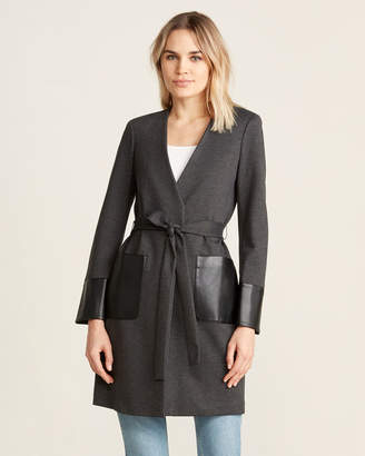 Calvin Klein Faux Leather Detailed Tie Waist Jacket