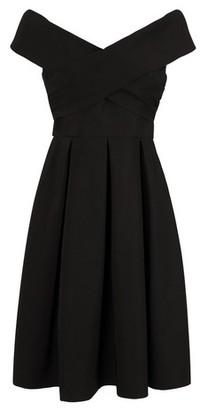 Dorothy Perkins Womens Chi Chi London Curve Black Bardot Midi Dress, Black