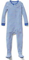 Organic stripe footed sleep one-piece