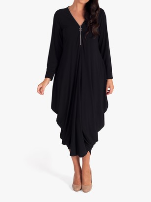 Chesca Zip Drape Dress, Black