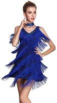 Dezzal Women's 1920s Gatsby Sequined Tassel Choker Mini Flapper Dress