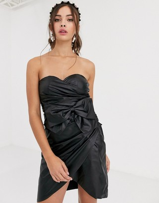 Collective The Label bandeau PU mini dress with bow detail in black
