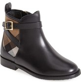 Burberry 'Mini Richardson' Leather Boot (Walker, Toddler & Little Kid)