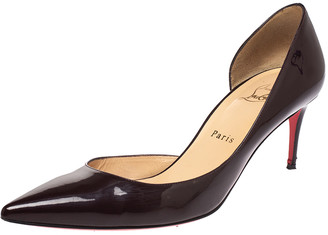 Christian Louboutin Black Patent Leather Iriza D'orsay Pointed Toe Pumps Size 39