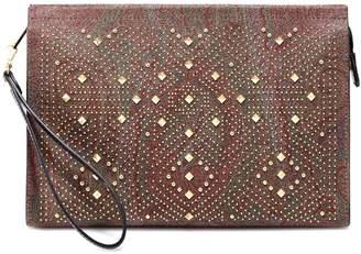 Etro Studded Paisley Print Clutch Bag