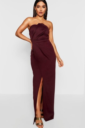 boohoo Bandeau Wrap Detail Split Maxi Bridesmaid Dress