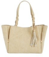 BP Faux Leather Braided Handle Tote - Beige
