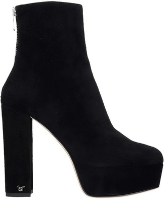 Sergio Rossi High Heels Ankle Boots In Black Suede