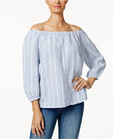 Charter Club Linen Striped Faux-Button Top, Only at Macy's