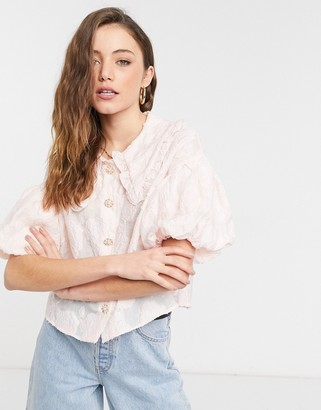 Sister Jane pink jacquard blouse with bib collar and embellished buttons