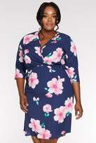 Quiz Curve Navy and Pink Floral Midi Dress