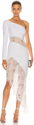 Rasario Asymmetric Crepe and Lace Midi Dress in White | FWRD