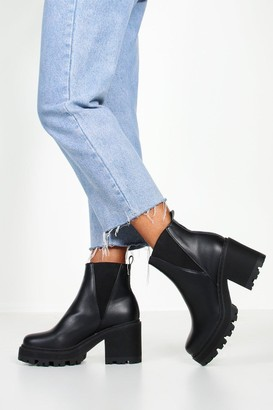 boohoo Wide Fit Cleated Block Heel Chelsea Boots