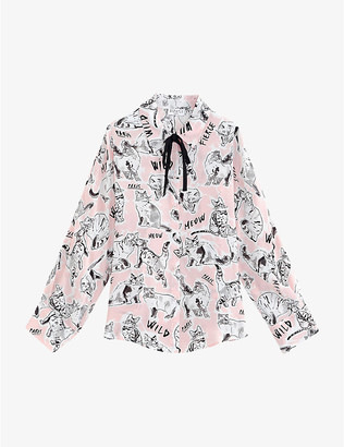 Claudie Pierlot Cat print crepe pussy-bow shirt