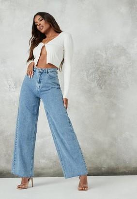 Missguided Blue Raw Hem Wide Straight Leg Jeans
