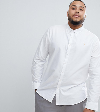 Farah Brewer slim fit buttondown shirt in white Exclusive at ASOS