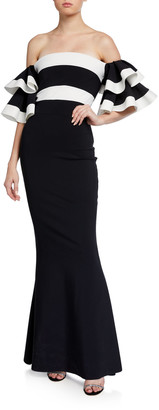Chiara Boni Two-Tone Off-the-Shoulder Ruffle-Sleeve Mermaid Gown