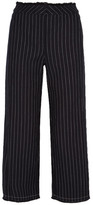 Alexander Wang Cropped Pinstriped Cotton-burlap Wide-leg Pants - Midnight blue