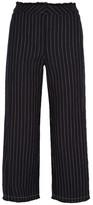 Alexander Wang Cropped Pinstriped Cotton-burlap Wide-leg Pants - Midnight blue
